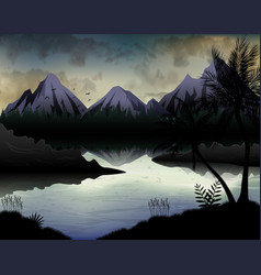 a tropical night with lake background vector image
