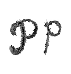 Abstract letter p logo icon black and white design vector
