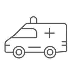 ambulance thin line icon medical and car vector image