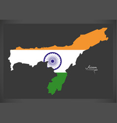 Assam map with indian national flag vector