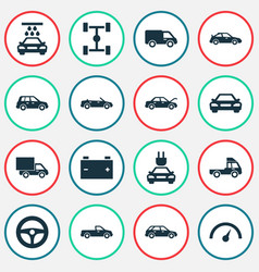 Automobile icons set collection lorry drive vector