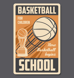 basketball kids school retro poster vector image