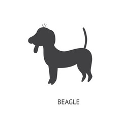 beagle dog or puppy in profile black silhouette vector image