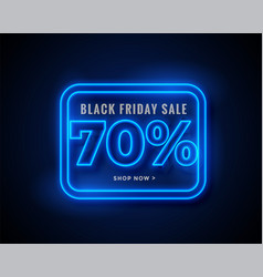 black friday sale banner in blue glowing neon vector image