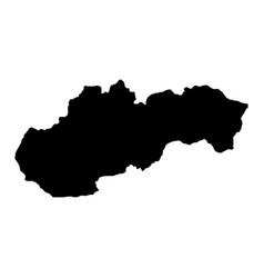 Black silhouette country borders map of slovakia vector