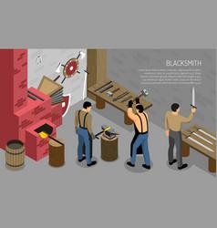 Blacksmith craft isometric horizontal vector