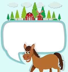 Border design with horse and farm vector