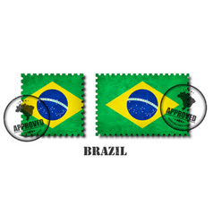 brazil or brazilian flag pattern postage stamp vector image