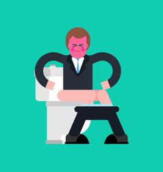 businessman on toilet guy is in wc vector image