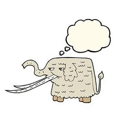 Cartoon woolly mammoth with thought bubble vector
