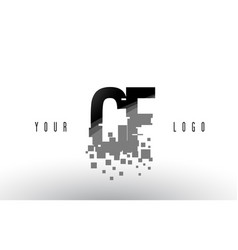 Cf c f pixel letter logo with digital shattered vector