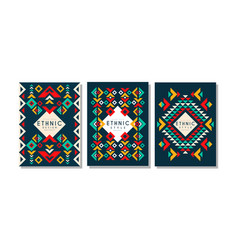 colorful cards with geometric ethnic pattern set vector image