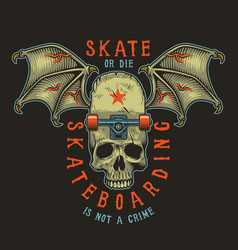 Colour skateboarding print vector