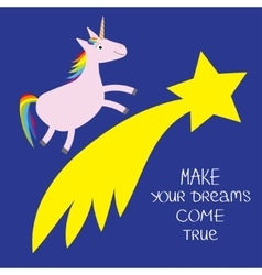 Comet flame with star Unicorn Make your dreams vector