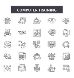 Computer training line icons signs set vector