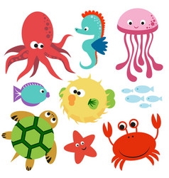 Cute colorful set undersea world animalas vector