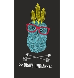 Cute doodle owl with feathers and arrows vector