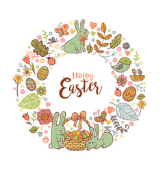 Cute easter festive frame vector
