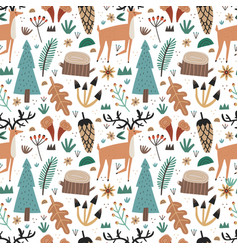 cute scandinavian seamless pattern with woodland vector image