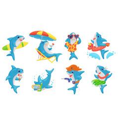 cute shark on summer vacation - cartoon set blue vector image