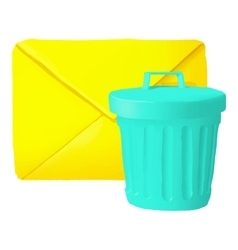 Delete message icon cartoon style vector