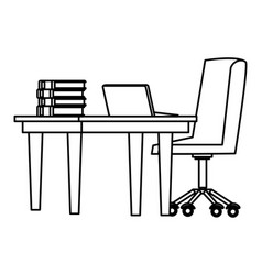 Desk with computer black and white vector