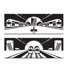 different subway stations with trains vector image