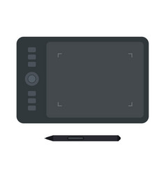 digitizer graphic tablet with stylus flat icon vector image