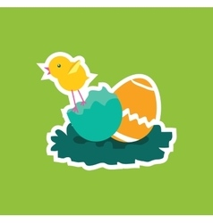 Easter Chicken Icon Egg Design Flat vector image