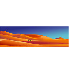 Egyptian sand desert landscape with dunes and moon vector