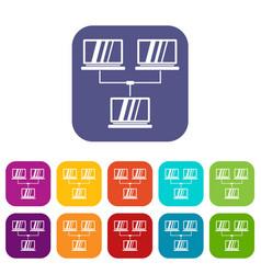 Exchange of data between computers icons set vector