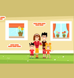 family with family house wall and windows flat vector image