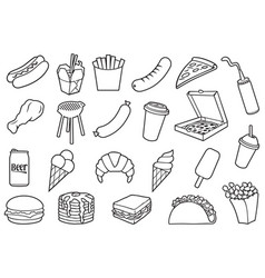 fast food thin icons set vector image