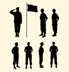 Female soldier gesture silhouette vector