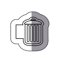 figure emblem metal trash can icon vector image