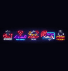 food neon sign collection set neon logos vector image