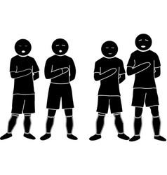 Football players sing hymn vector