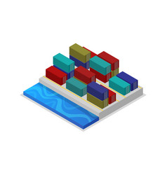 freight containers in port isometric 3d icon vector image