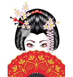 Geisha with fan vector