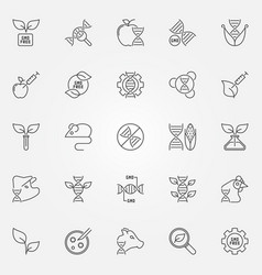 gmo outline icons set - genetic engineering vector image