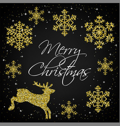 golden snowflakes and deer vector image