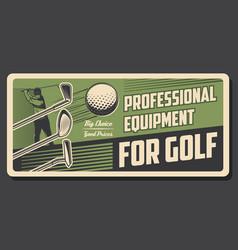 Golf sport retro poster golfer swing a ball vector