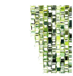 Green fragmented abstract pattern over white vector