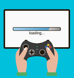 hand hold gamepad screen with loading bar vector image