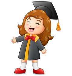 happy graduation girl cartoon vector image