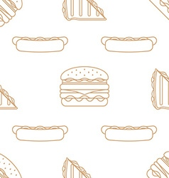 Hot dog club sandwich burger outline seamless vector
