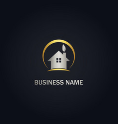 house realty eco leaf company gold logo vector image
