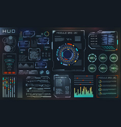 Hud and ui set elements sci fi futuristic user vector