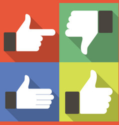 icons for social network web app like symbol hand vector image