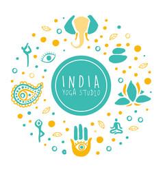 India yoga studio banner ayurveda traditional vector